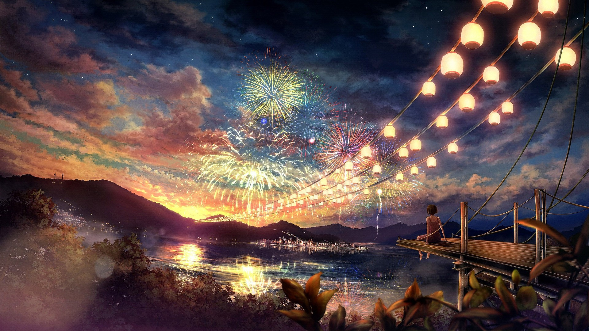 sunlight-colorful-women-night-anime-anime-girls-lake-reflection-sky-artwork-fireworks-evening-concept-art-dusk-screenshot-computer-wallpaper-230115